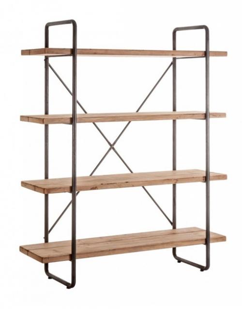 Estanterias madera Linz de Vical. Una estantería versátil y elegante para decorar hecha de madera de abeto natural y hierro, de estilo artesanal. DIHWEB La tienda de muebles online