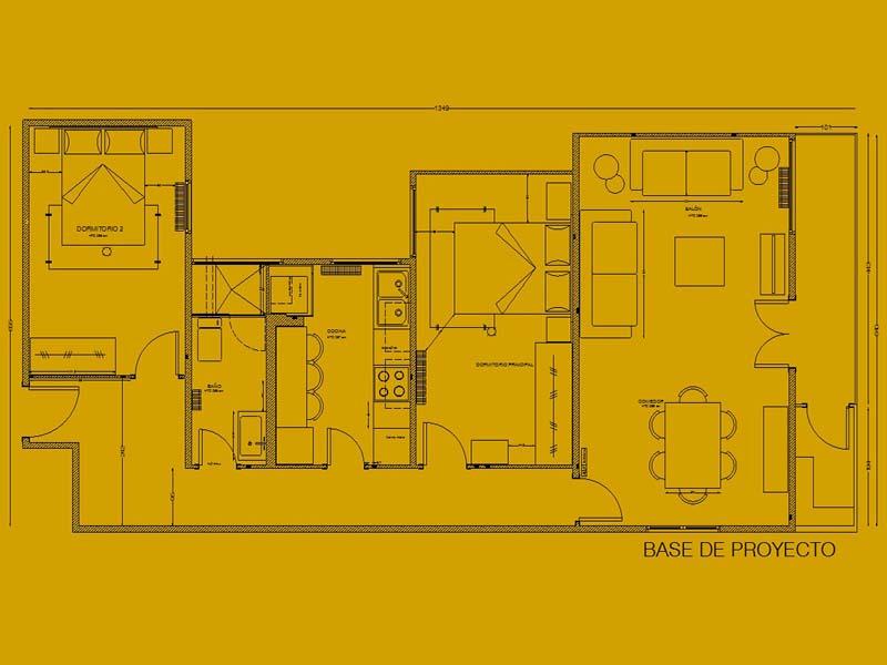 Planta de distribución, piso completo, Designers in-home decorador de interiores y diseño low cost DIHWEB.COM