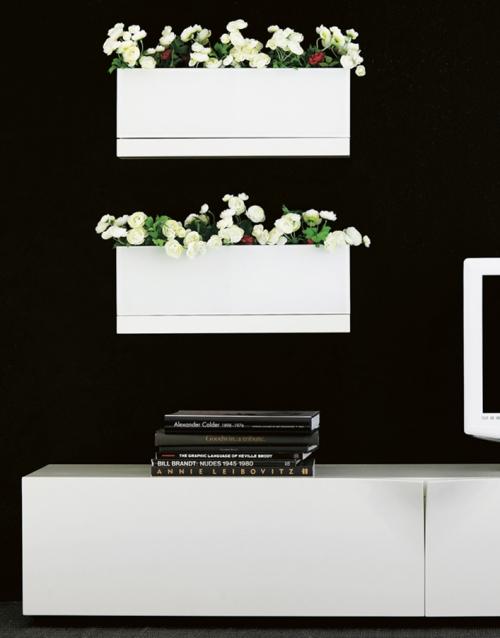 macetero blanco FRONT KA&S DIHWEB Tienda de decoración online. Productos de diseño y decoración, accesorios para el hogar, muebles de comedor y salón