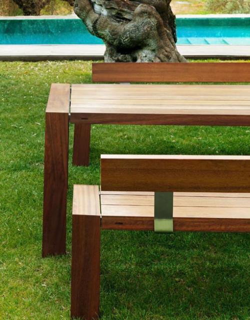 Mesa y banco de exterior SOLO. Mobiliario y productos de diseño y accesorios para el hogar, muebles de comedor y salón en la tienda de Designers in-home.