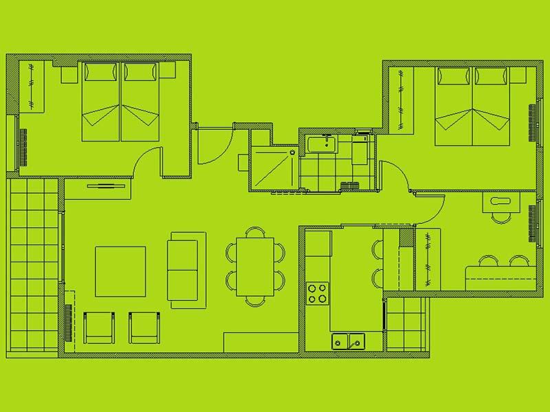 Planta de distribución, piso completo para jubilados, Designers in-home decorador de interiores y diseño low cost DIHWEB.COM
