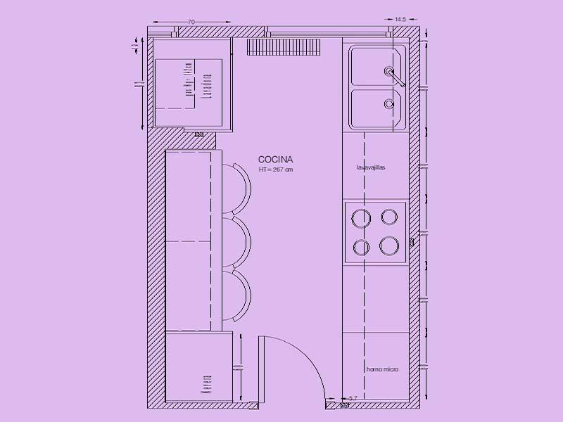 Planta de distribución, cocina, Designers in-home decorador de interiores y diseño low cost DIHWEB.COM