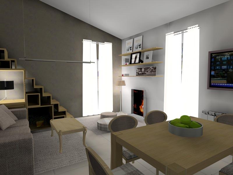 Salón comedor con chimenea. DIH | Diseño interior online