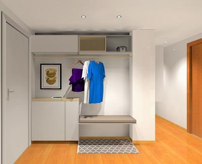 Recibidor compacto proyecto designers in-home decorador de interiores y diseño low cost DIHWEB.COM Proyecto diseño interior online por 99€ por espacio.