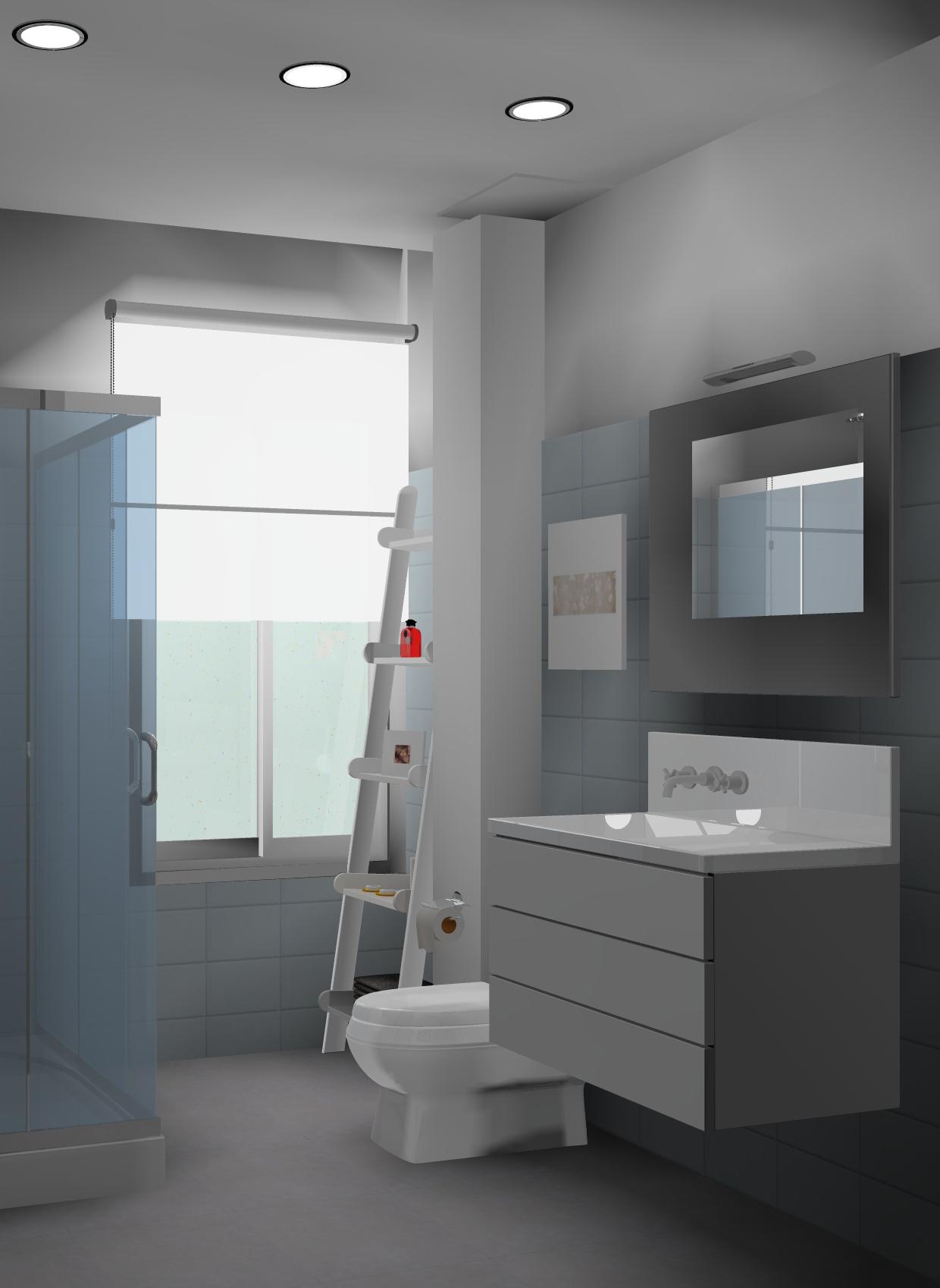 Cuarto de baño diseñado por Designers in-home , recuperación de un baño en un piso de los años 70's, queremos dar la sensación de amplitud